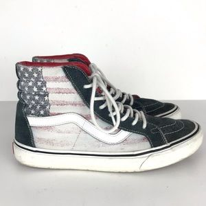 Vans SK8 Hi Top USA Flag Sneaker Tie Shoes M7 W8.5